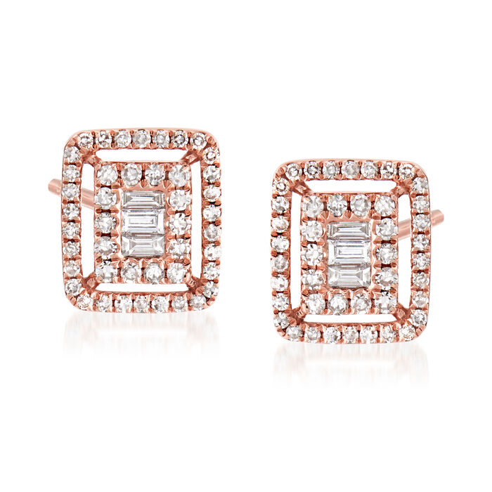 .40 ct. t.w. Baguette and Round Diamond Frame Earrings in 18kt Rose Gold