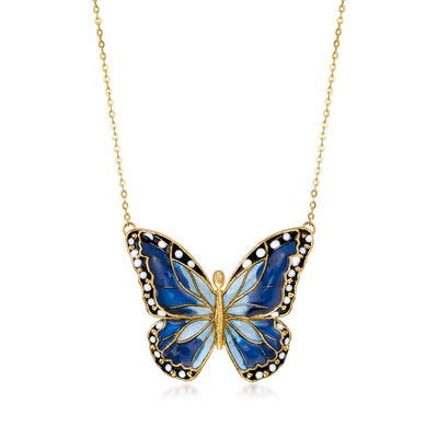 Italian Multicolored Enamel Butterfly Necklace in 14kt Yellow Gold, , default