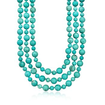 """8-12mm Simulated Turquoise Bead Endless Necklace With Free Sterling Silver Shortener. 80"""", , default"""