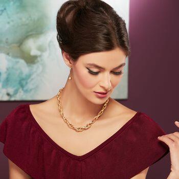 Italian 14kt Yellow Gold Diamond-Cut Bead and Popcorn Chain Drop Earrings , , default