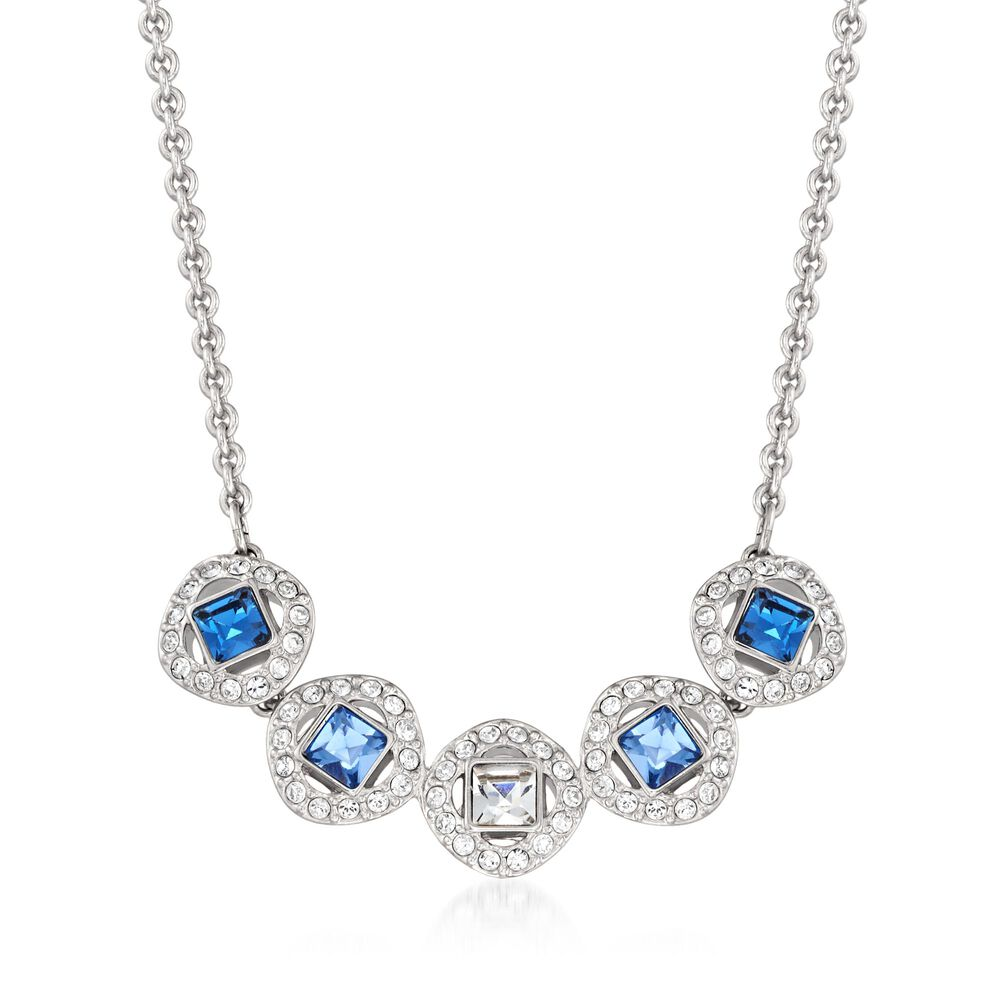 """064640e39 Swarovski Crystal """"Angelic"""" Blue and Clear Square Crystal  Necklace in Silvertone."""