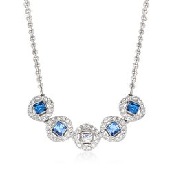 "Swarovski Crystal ""Angelic"" Blue and Clear Square Crystal Necklace in Silvertone. 15""   , , default"