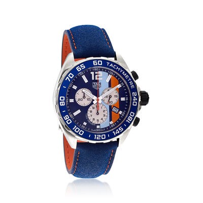 TAG Heuer Formula 1 Gulf Special Edition Men's 43mm Chronograph Watch with Blue and Orange