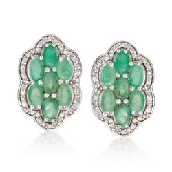 2.90 ct. t.w. Emerald and .44 ct. t.w. Diamond Flower Earrings in Sterling Silver, , default