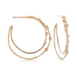 .27 ct. t.w. Bezel-Set Diamond Hoop Earrings in 14kt Gold Over Sterling, , default