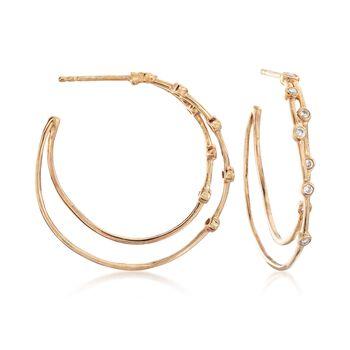 """.27 ct. t.w. Bezel-Set Diamond Hoop Earrings in 14kt Gold Over Sterling. 1 1/8"""", , default"""