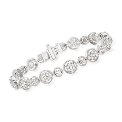 2.00 ct. t.w. Diamond Milgrain Frame Bracelet in Sterling Silver