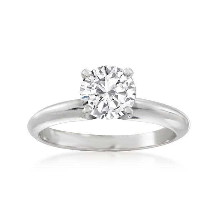 1.04 Carat Certified Diamond Solitaire Ring in 14kt White Gold