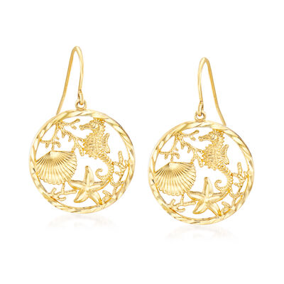 14kt Yellow Gold Sea Life Drop Earrings