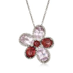 29.10 ct. t.w. Kunzite and Pink Tourmaline Floral Pin Pendant Necklace With Diamonds in 18kt White Gold, , default