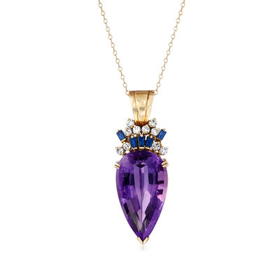 C. 1970 Vintage 34.29 Carat Amethyst, .75 ct. t.w. Sapphire and .70 ct. t.w. Diamond Pendant Necklace in 14kt Yellow Gold, , default