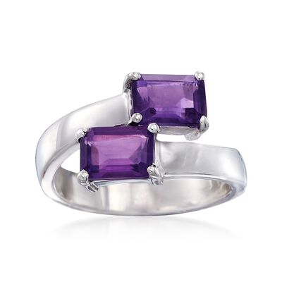 1.90 ct. t.w. Emerald-Cut Amethyst Bypass Ring in Sterling Silver, , default