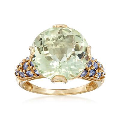 C. 1990 Vintage 8.5 Carat Green Prasiolite and Blue Topaz Ring in 10kt Yellow Gold, , default