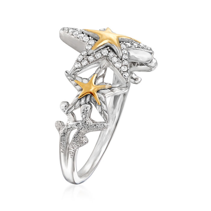 .13 ct. t.w. Diamond Starfish Ring in Sterling Silver with 14kt Yellow Gold