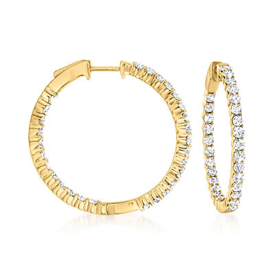 2.00 ct. t.w. Diamond Inside-Outside Hoop Earrings in 14kt Yellow Gold