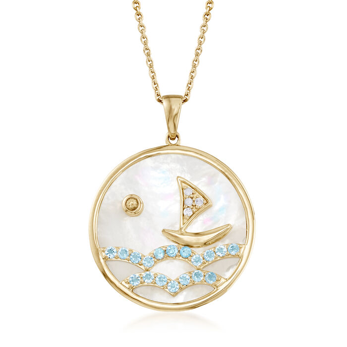 ".90 ct. t.w. Blue Topaz Sailboat Pendant Necklace with Diamond and Sapphire Accents in 18kt Gold Over Sterling. 18"", , default"