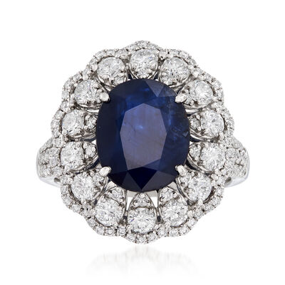 3.20 Carat Sapphire and 1.55 ct. t.w. Diamond Ring in 18kt White Gold, , default