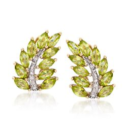 5.25 ct. t.w. Peridot and .11 ct. t.w. Diamond Spray Leaf Earrings in 14kt Gold Over Sterling, , default