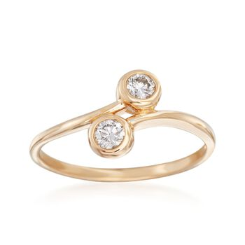 .25 ct. t.w. Bezel-Set Diamond Two-Stone Bypass Ring in 14kt Yellow Gold, , default