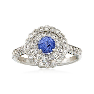 C. 2008 Vintage .65 Carat Sapphire and .45 ct. t.w. Diamond Ring in 18kt Yellow Gold, , default