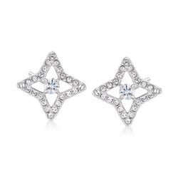 "Swarovski Crystal ""Sparkling Dance Star"" Crystal Star Earrings in Silvertone, , default"