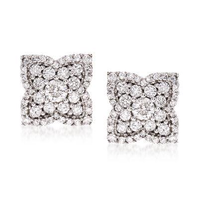 1.00 ct. t.w. Diamond Flower Earrings in 14kt White Gold, , default
