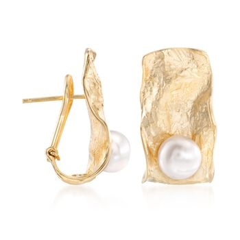 Italian 7.5-8mm Cultured Pearl Sculptural Earrings in 18kt Gold Over Sterling, , default