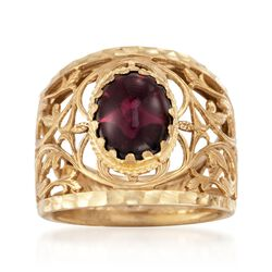 Italian 2.00 Carat Cabochon Garnet Openwork Ring in 14kt Yellow Gold, , default
