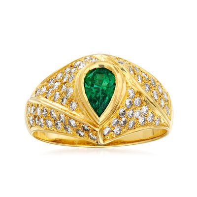 C. 1980 Vintage .40 Carat Emerald and .64 ct. t.w. Diamond Ring in 14kt Yellow Gold, , default