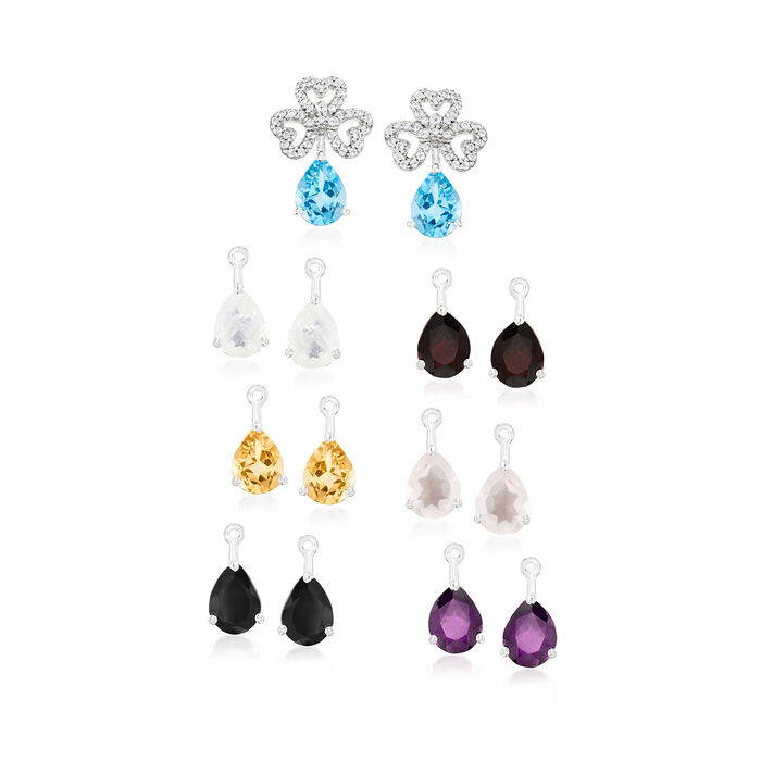 Moonstone and 11.80 ct. t.w. Multi-Gemstone Jewelry Set: Stud Earrings and Seven Pairs of Interchangeable Drops in Sterling Silver