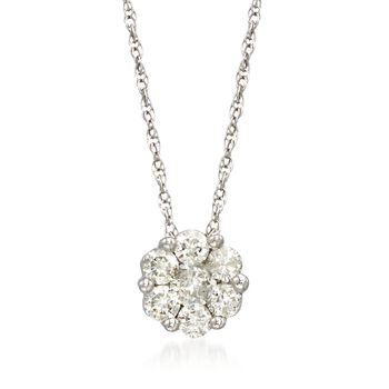 .50 ct. t.w. Diamond Floral Cluster Pendant Necklace in 14kt White Gold, , default