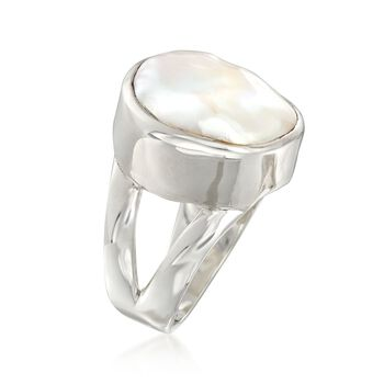 16.5-17.5mm Cultured Biwa Pearl Ring in Sterling Silver