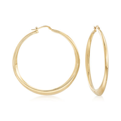 Italian 18kt Gold Over Sterling Tapered Hoop Earrings, , default