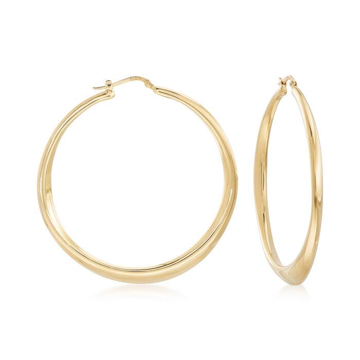 "Italian 18kt Gold Over Sterling Tapered Hoop Earrings. 2 1/4"", , default"