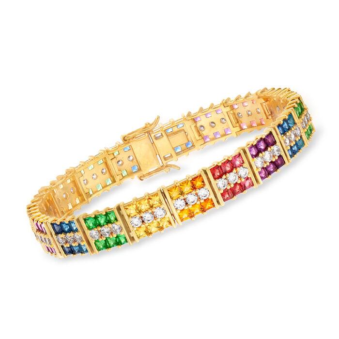 "14.25 ct. t.w. Multicolored CZ Bracelet in 18kt Gold Over Sterling. 7"", , default"