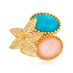 Turquoise and Peach Moonstone Starfish Ring With White Topaz in 14kt Gold Over Sterling, , default