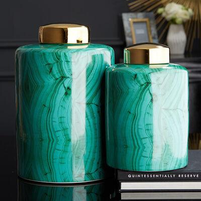 Set of Two Green Malachite Style Porcelain Decorative Jars, , default