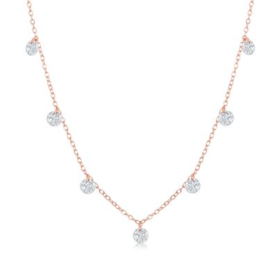 1.75 ct. t.w. CZ Station Necklace in 18kt Rose Gold Over Stering, , default