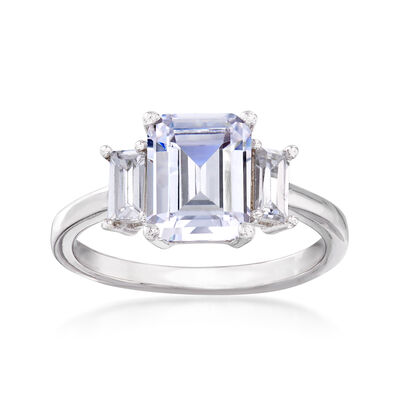 3.30 ct. t.w. Three-Stone CZ Ring in Sterling Silver, , default