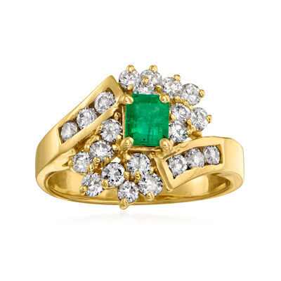 C. 1990 Vintage .20 Carat Emerald and .35 ct. t.w. Diamond Cluster Ring in 14kt Yellow Gold