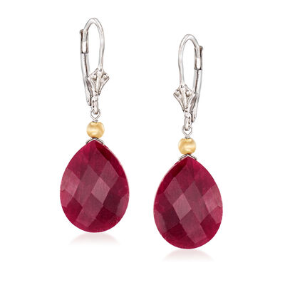 20.00 ct. t.w. Ruby Drop Earrings in Sterling Silver and 14kt Yellow Gold, , default
