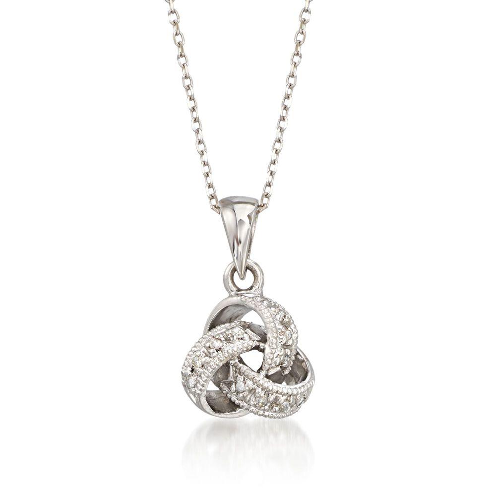 e5549f6da83e5 Diamond Accent Love Knot Pendant Necklace in 14kt White Gold. 16