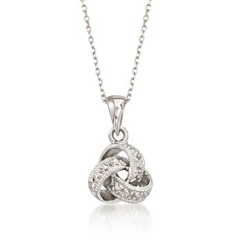"""Diamond Accent Love Knot Pendant Necklace in 14kt White Gold. 16"""", , default"""