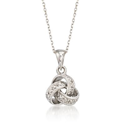 Diamond Accent Love Knot Pendant Necklace in 14kt White Gold, , default