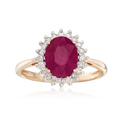 2.00 Carat Ruby and .24 ct. t.w. Diamond Ring in 14kt Yellow Gold, , default
