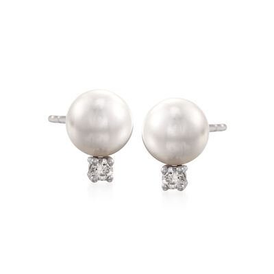 Mikimoto 6-6.5mm A+ Akoya Pearl Earrings with Diamonds in 18kt White Gold