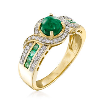 1.20 ct. t.w. Emerald and .24 ct. t.w. Diamond Ring in 14kt Yellow Gold
