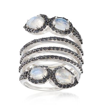 Moonstone and 1.57 ct. t.w. Black Spinel Coil Ring in Sterling Silver, , default