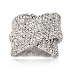 3.93 ct. t.w. Pave Diamond Crisscross Ring in 18kt White Gold , , default