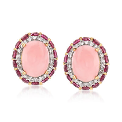 Pink Opal, 1.40 ct. t.w. Rhodolite Garnet and .22 ct. t.w. Diamond Earrings in 14kt Yellow Gold, , default